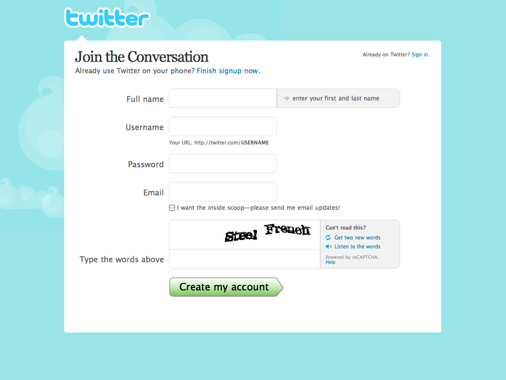 Twitter / Create an Account